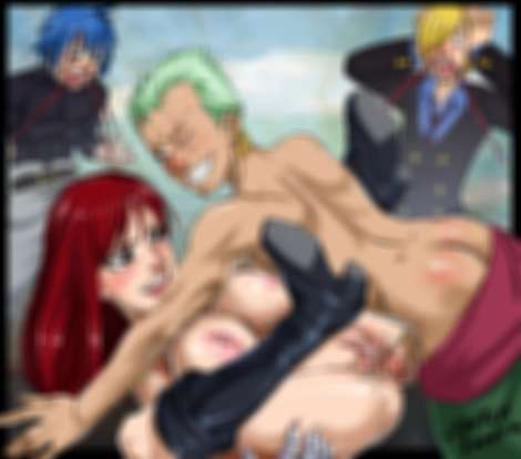 boobs sketch lanza Erza Scarlet anal fucked by Roronoa Zoro missionary position Sanji and Jellal noses